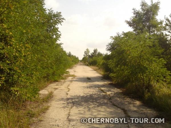 Дорога вдоль бассейна-охладителя ЧАЭС