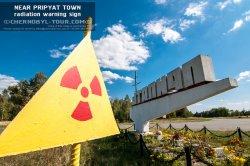 Знак радиационной опасности в Припяти