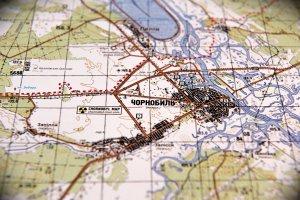 Военная карта Чернобыльской зоны с объектами